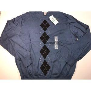 New Geoffrey Beene Sweater Men's Large Blue Argyle